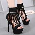 Сексуальная Кисточкой насосы Высокие Каблуки Женщин Обувь 2017 Высокая качество Туфли На Платформе Женщина На Высоких Каблуках 16 СМ Насосы Обувь 34-40 X281