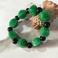Natural verde jade esculpido pulseira da moda jóias pulseira de presente para homens e mulheres
