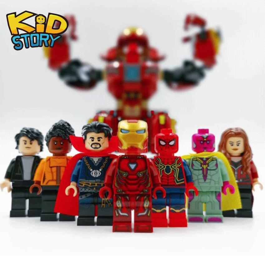 New Brickheadz Figures Legoinglys Marvel Avengers Super Hero Brick Heads Thanos Cyborg Doctor Strange Building Block Toy For Boy Toys & Hobbies