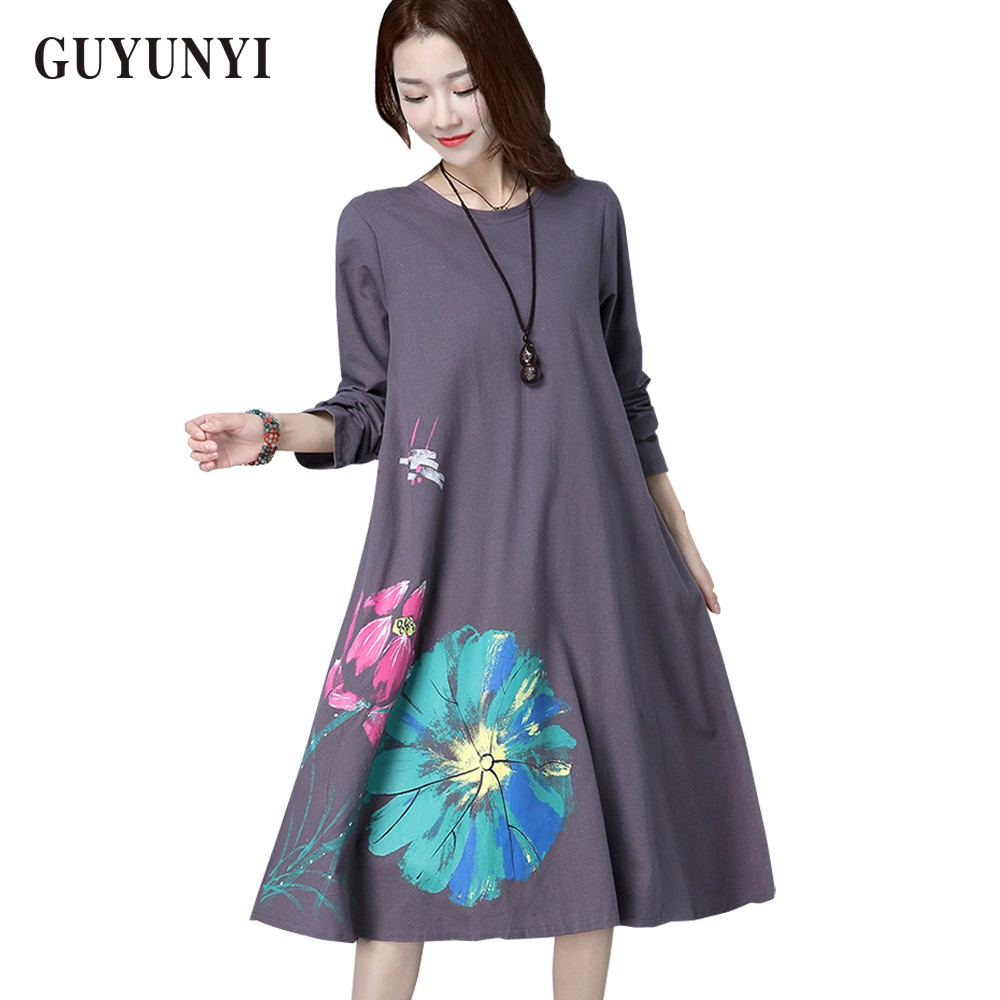 dc341932c Detail Feedback Questions about GUYUNYI Women's Dresses New Arrival Spring  Simple Printing Linen Dresses Casual Loose Dress O Neck Long Sleeve Plus  Size ...