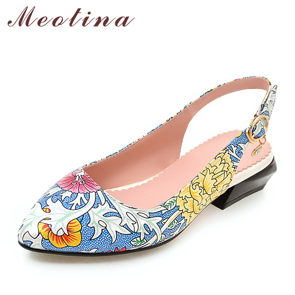 Meotina Shoes Women Slingbacks Med Heels Spring 2018 Appliques Pointed Toe Shoes Pumps Ladies Big Size 42 43 Casual Buckle Shoes meotina women wedding shoes 2018 spring high heels wedges pumps silver pointed toe slip on shoes big size 9 42 43 ladies shoes