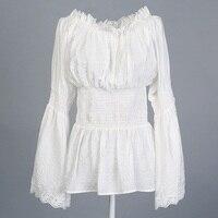 Женщины топы хлопок район блузка кружева старинные дизайн одежды белый черный хиппи boho xxxl длинным рукавом белл flare в стиле кантри топ