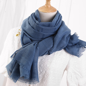 Image 1 - Solid Color Scarf Cotton Linen Ethic Hollow Cut Scarf Fringes Large Wraps Stoles Muslim Hijabs Scarves Islam Wrap Hijab