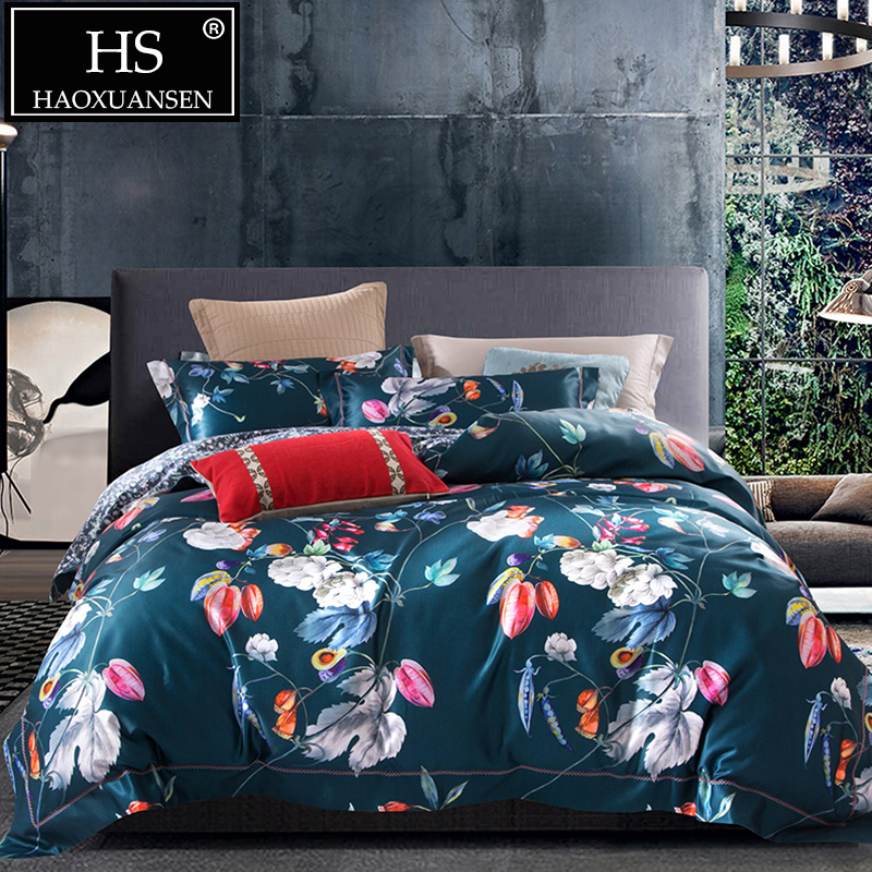 Plants and Flowers Pattern Navy Blue 4pcs 3D Bedding Sets Pastoral Style Bed Linen Set Cotton Fabric Digital Printing Bedclothes