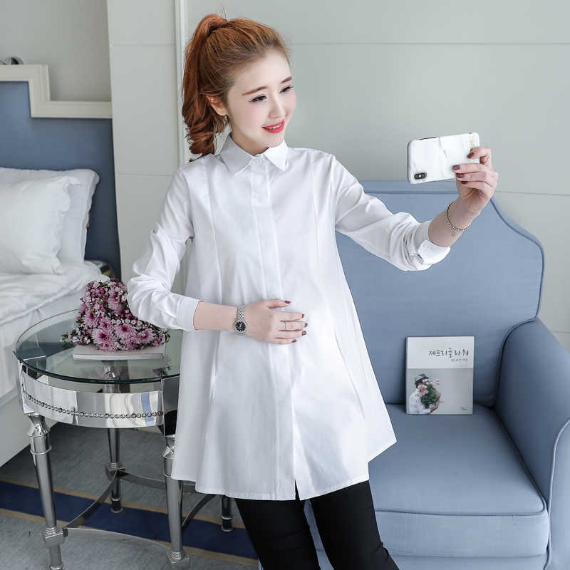 10511492119 1902  OL Maternity Blouses Cotton Blouses Clothes for Pregnant Women 2019  Spring Summer Office Ladies