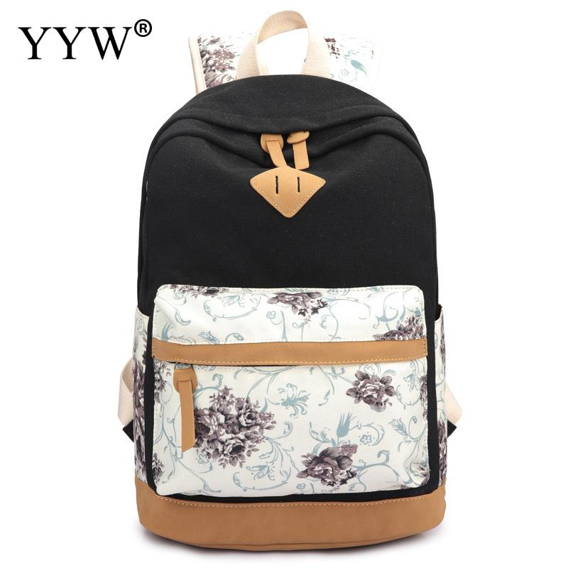Canvas Backpack Travel-Bag Women Teenager Large-Capacity Black Zipper Casual For Print