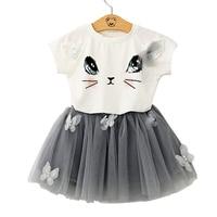Estate cat stampa camicia di T del bambino + 3d farfalla della maglia del merletto mini pannello esterno del tutu delle ragazze 2 pz set vestito dei bambini vestiti del capretto 90-130 cm