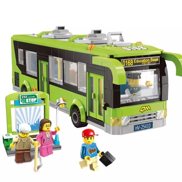 ENLIGHTEN City Traffic Bus Station Car Building Blocks Sets Bricks Model Kids Toys Children Compatible Legoings Girls Friends 0367 sluban 678pcs city series international airport model building blocks enlighten figure toys for children compatible legoe