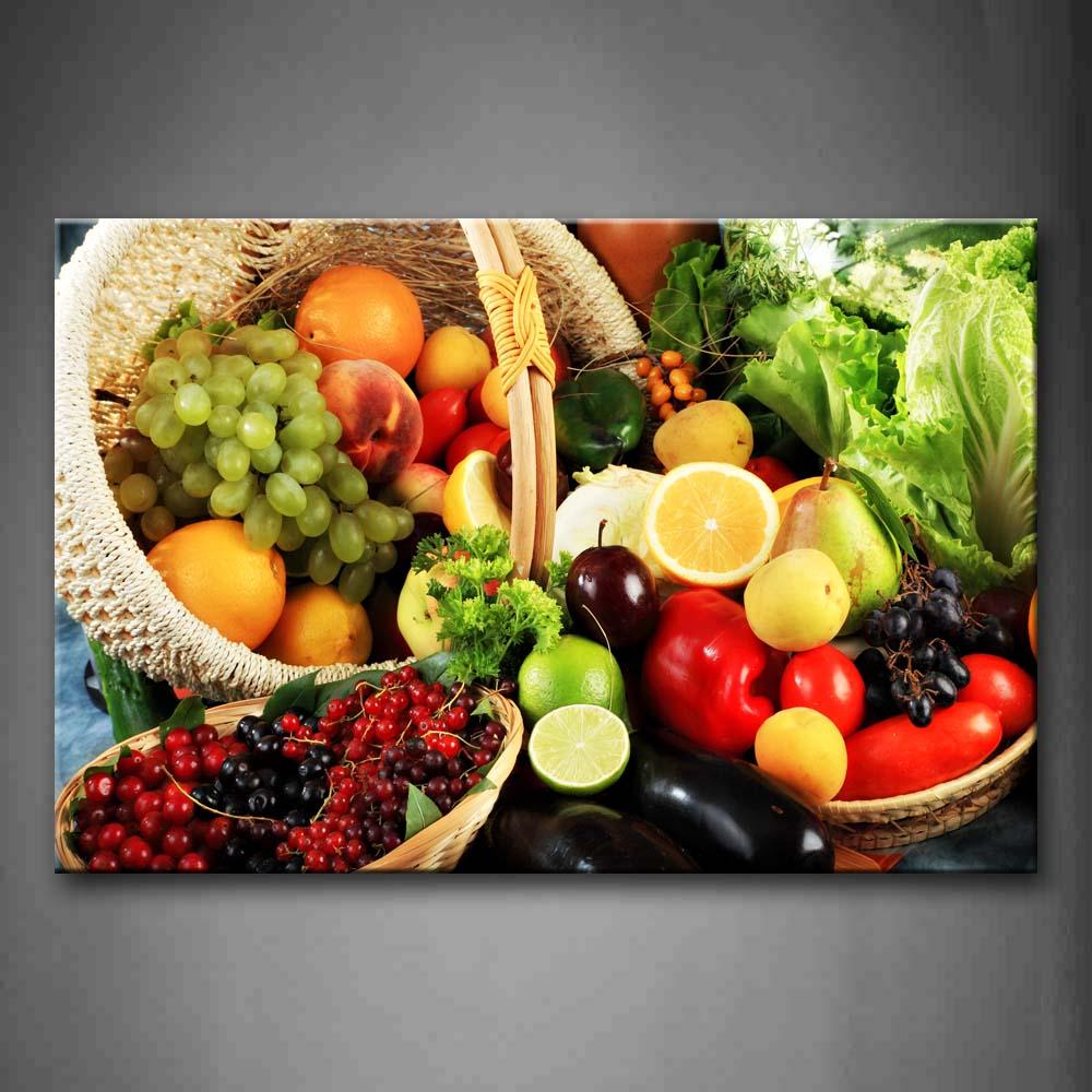 Gerahmte Wand Kunst Bild Obst Korb Leinwand Drucken Lebensmittel Moderne Poster Mit Holz Rahmen Für Wohnzimmer Home Office Decor