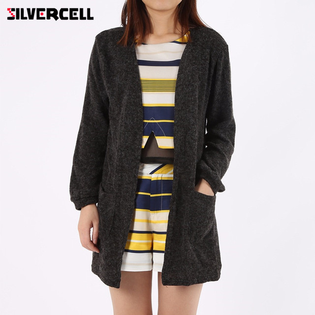 SILVERCELL Women Black Cardigan Autumn Winter Warm Loose Sweater ...