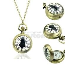 Antique Retro Vintage Girl Steampunk Necklace Chain Quartz Pocket Watch Bronze #T50P# Drop ship