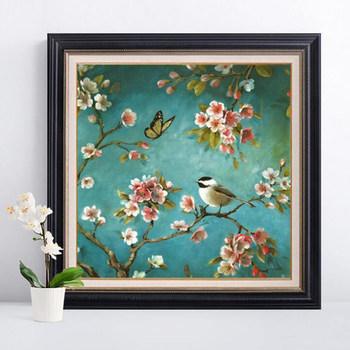 Robótki majsterkowanie ściegiem krzyżykowym zestawy do haftu zestawy chińskie kwiaty śliwy i ptaki nadrukowany wzór wyszywany obrazek prezent tanie i dobre opinie Obrazy Floral PACKAGE 100 COTTON Europa Składane QIUSI Bag Box packing Full embroidery