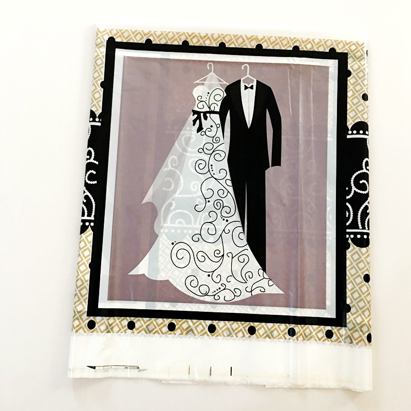 108*180cm Tablecloth Groom and Bride White Wedding Dress Black Suit Party Tablecover Romantic Wedding Marry Decoration Supplies