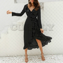 CUERLY Polka dot ruffle wrap long dress Women Split long sleeve spring casual dress 2019 Streetwear black maxi dress CUERLY polka dot self tie wrap dress