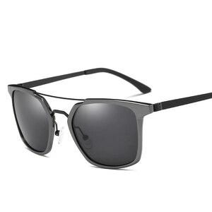 Image 3 - 2019 New Men Polarized Rimless Aluminum Sunglasses Driving Fishing Polarised Eyewear Rectangle UV400 Sun Glasses Anti Glare 8639