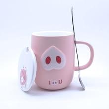400ML Emboss Cup Creative Ceramic Coffee Mug Cute Pink Pig Cartoon Funny with Handgrip Lid Spoon Kid Gift Kitchen Accessories
