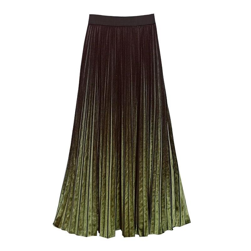 Cintura Plisada Gradiente Alta Femenina Otoño Elegante Larga Cálida 2018 5xl Terciopelo Maxi V31 Falda Mujer Green red Más Invierno Color Tamaño tPfnvnwqOz