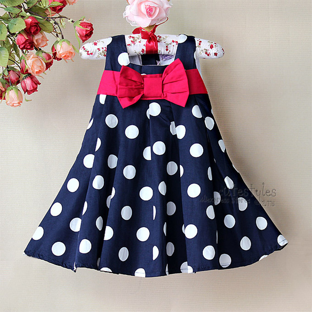 Baby Girls Princess Navy Blue Dresses Polka Dot Toddler