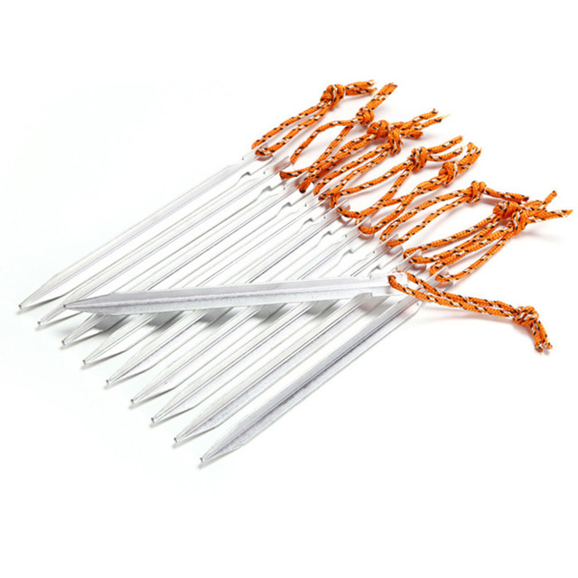 10pcs 18cm Tent Peg Nail 700I Aluminium Alloy Stake with Rope Camping Equipment Outdoor Traveling Tent Building free shipping