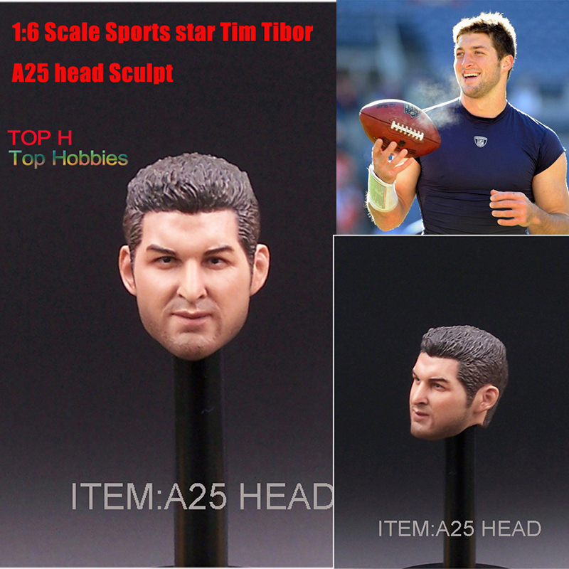 1:6 Scale Sports star Tim Tibor A25 head Sculpt Model Fit 12 Hot Toys Phicen TTL Doll Action Figure