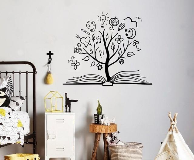 Wisdom Tree Vinyl Wall Sticker Child Teen Study Room Bedroom Library Decoration Wall Sticker Home Decor Art Decal YD03
