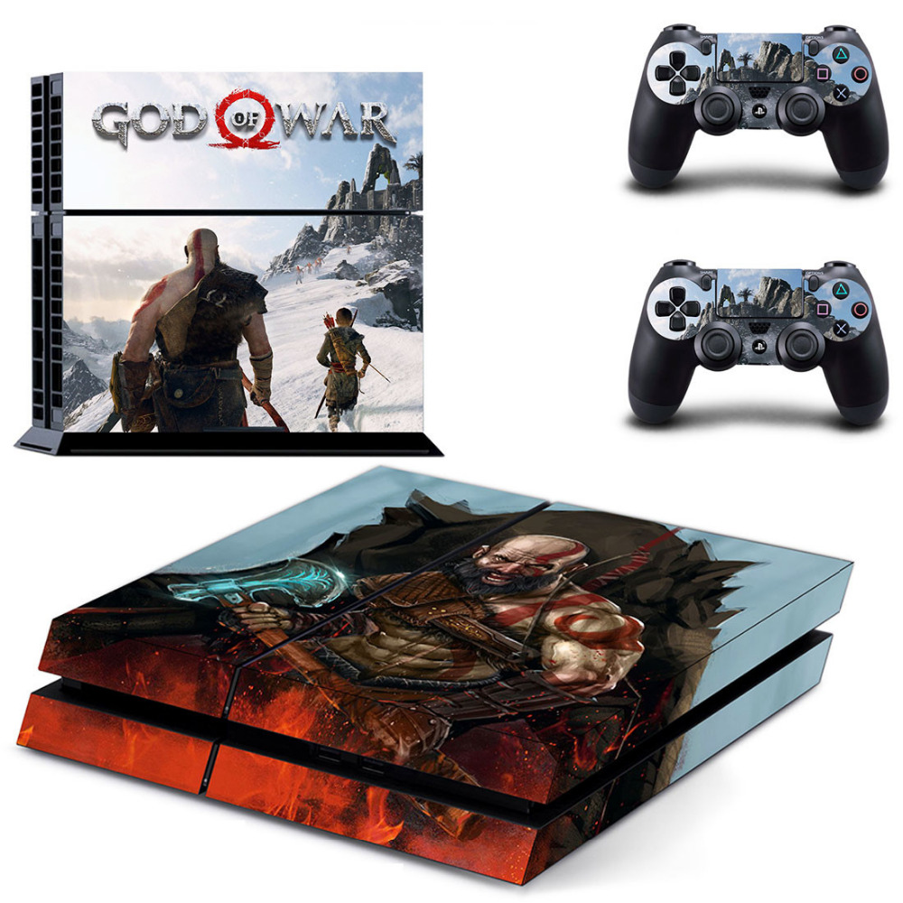 Купить с кэшбэком Game God of War 4 PS4 Skin Sticker Decal for Sony PlayStation 4 Console and 2 controller skins PS4 Stickers Vinyl Accessory