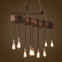 Лофт Стиль Творческий Деревянный Droplight Эдисон Винтаж подвесные светильники для Обеденная подвесной светильник Освещение в помещении