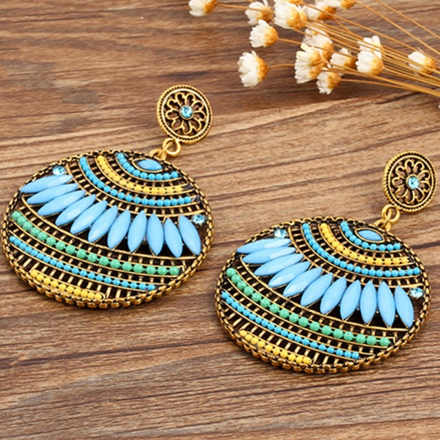 Bohemian Vintage Ethnic Drop Earrings Women Sea Holiday Colorful Round Dangle Earring Jewelry Brincos Maxi
