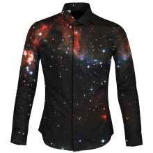 Cloudstyle New Design 3D Space Shirts Mens Clothes Chinese Silk Shirt Long Sleeves Camisa Hombre Streetwear Hawaiian Homme