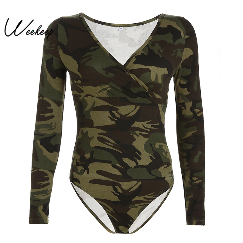 424ef69383bf Detail Feedback Questions about Weekeep Women Bodycon V neck Long Sleeve  Bodysuit Casual camouflage Romper Women Jumpsuits 2019 Spring Autumn  Overall ...