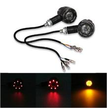 2PCS/1Pair Scooter Motorcycle Turn Signal Indicators Stop Light Metal Black For Harley Motorbike Rear Led