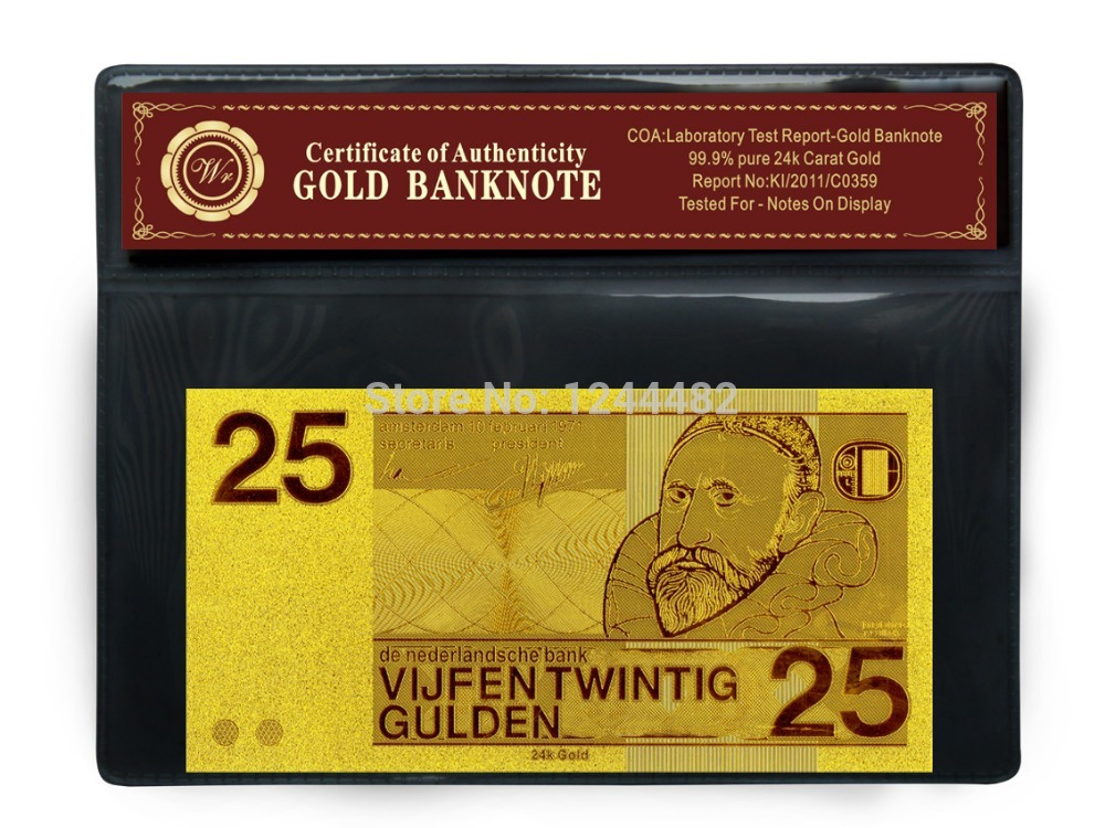 Netherland Currency Gold Foil Banknote 25 Gulden Gold Plated With