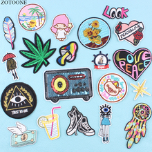 ZOTOONE Simple Art Heart Clothing Patch Stickers Embroidered Stripes on Clothes Patches for Badges Garment Applications