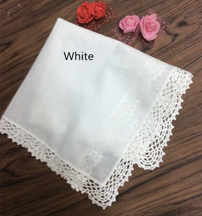 "12PCS/Lot Fashion Womens Handkerchiefs 12""x12""Cotton Wedding Handerchief Embroidered Crochet Lace Edges Hankies Hanky For Bride"