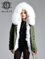 Real fox fur parka in white color fur and real raccoon fur collar winter thick overcoat for ladies
