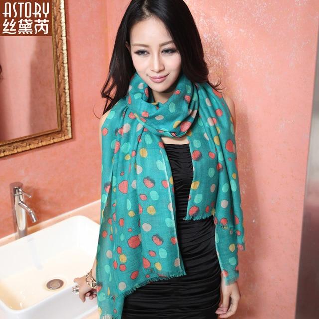 Astory wire pure wool ultra Women print long scarf cape