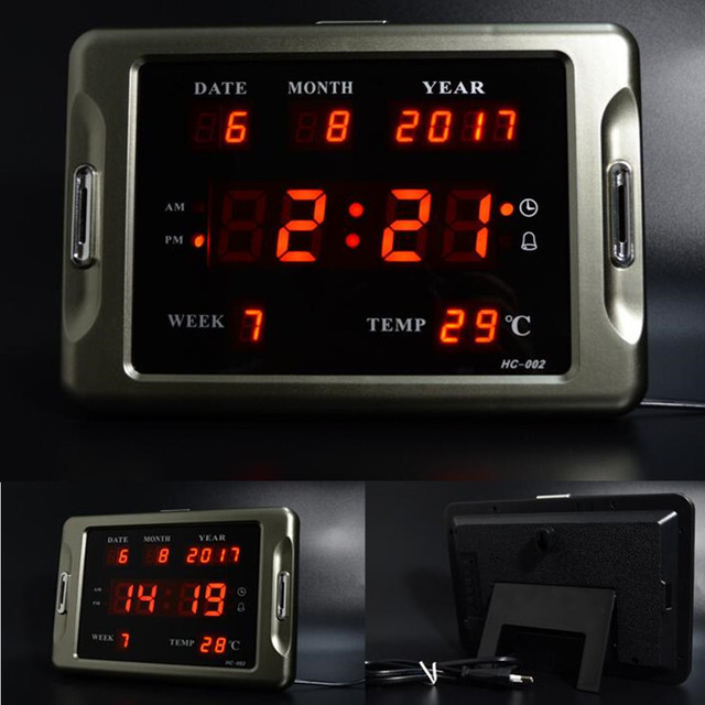 Large 3D LED Digital Nixie Wall Clock Modern Design Home Decor Big Watch Electronic Desk Clocks Alarm Clok Calendar Temperature