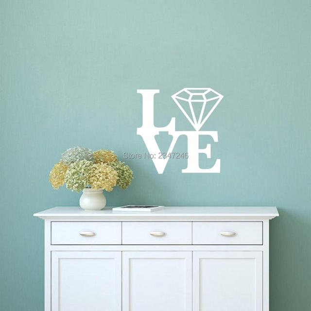 Love Letters Pattern Shine Diamond Wall Sticker Wedding Gift Fashion Pattern Art Vinyl Wall Decals Bedroom & Aliexpress.com : Buy Love Letters Pattern Shine Diamond Wall Sticker ...