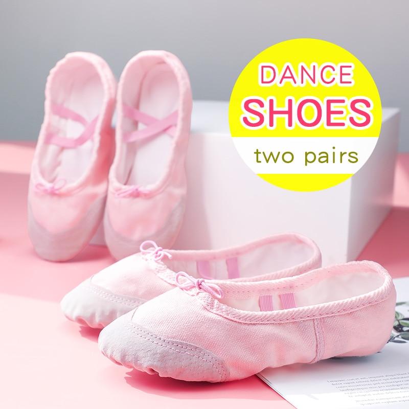 Children Girls Soft Sole Ballet Shoes Dance Shoes Kids Adult Ballet Slippers Indoor Dance Practice Shoes 2 Pairs