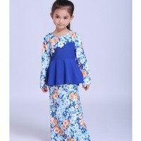 Muslim Abaya Islamic Children Dress Children Girl Princess Printed Flowers Dress 2018 Malaysia Kids New Year