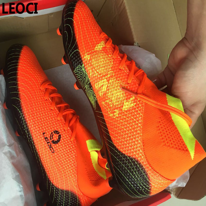 LEOCI Men TF Soccer Shoes High Ankle Football Boots Plus ...