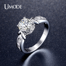 UMODE Simulated  Wedding Engagement Rings For Women Fashion Jewelry Rhodium plated Brand Anillos Anel 2016 New AUR0355