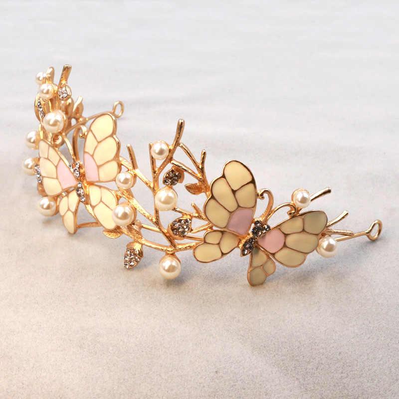 Papillon doré couronne de mariée bandeaux de mariage accessoires de cheveux de mariée perles diadème femmes casque diadèmes cadeaux pour les filles
