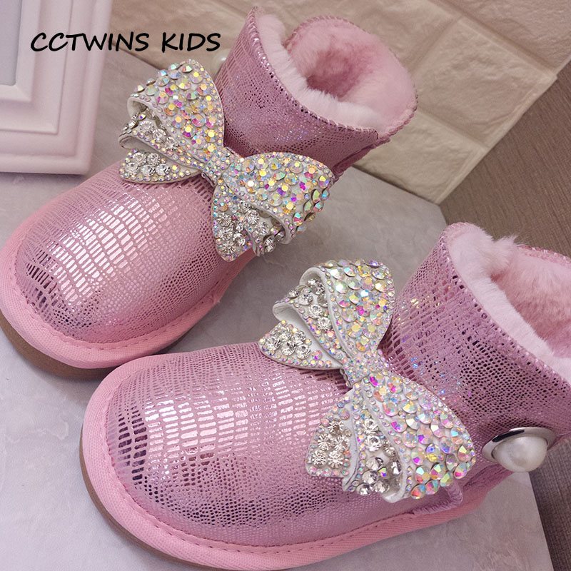 CCTWINS KIDS 2018 Winter Children Fashion Rhinestone Shoe Baby Girl Genuine  Leather Snow Boot Toddler Butterfly 7b34a0382b1a