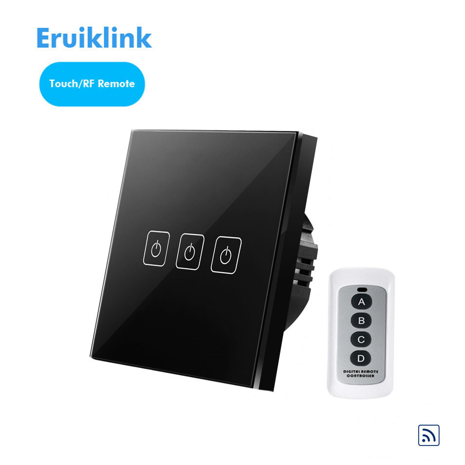 EU/UK Type Eruiklink Wireless Remote Control Switch 3 Gang 1 Way, RF433 Smart Wall Switch, High Sense Touch Light Switch Panel eu uk standard sesoo 3 gang 1 way remote control wall touch switch wireless remote control light switches for smart home