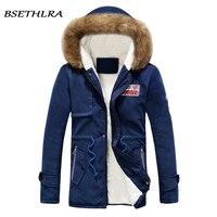BSETHLRA 2017 Parka Men Coats Winter Jackets Men Slim Fit Thicken Fur Hooded Outwear Warm Coat