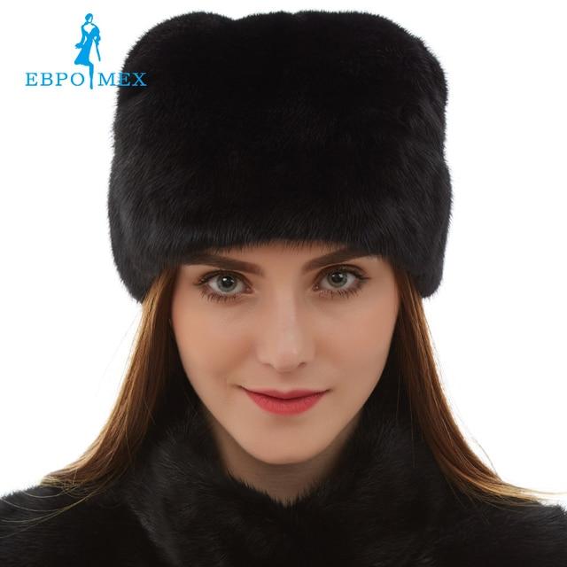 Top grade mink fur hats Genuine Leather fur hats for women Fashion Warm winter Black fur hats russian fur hat