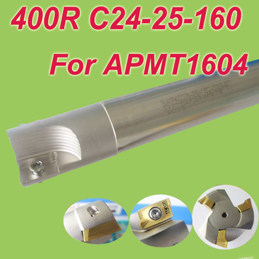 Free Shipping  400R SHK 24MM,Cutting Dia:25mm L:160mm 90 deg Square Inserted Endmill Bar Shoulder Cutting Tools for APMT1604