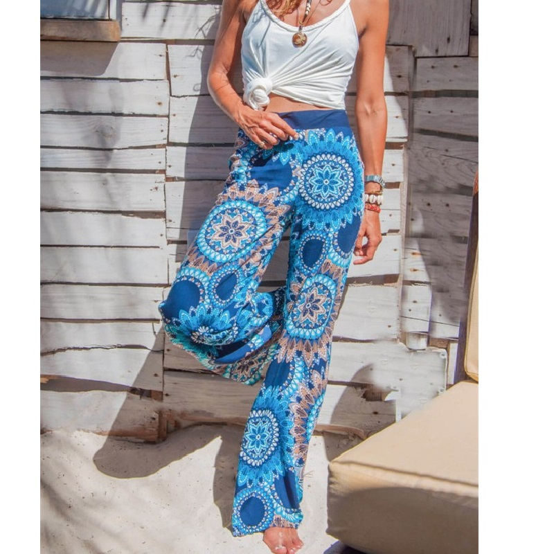 Hospitable Women Wide Leg Pants 2019 Vintage Floral Printed Hihg Waist Rubber Tight Pants Streetwear Beach Bohemian Long Pants Loose Sexy A Great Variety Of Models Women's Clothing Pants & Capris