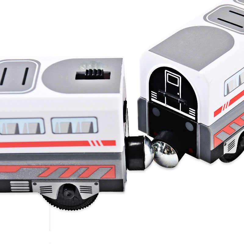 Электрический поезд игрушки Магнитный Электрический поезд высокоскоростной рельс совместим с паровозиком Томаса и всеми видами деревянной железной дороги